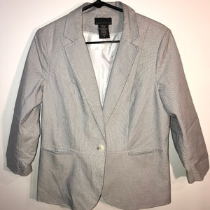 Light Gray Blazer with Padded Shoulders